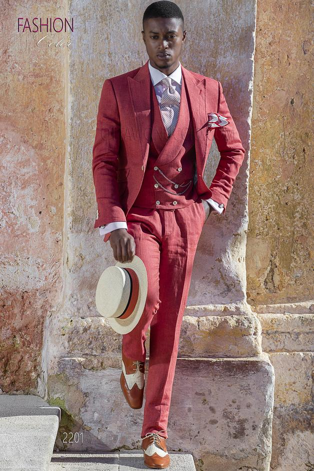 ONGala 2201 - Red italian wedding suit in linen for summer ceremony