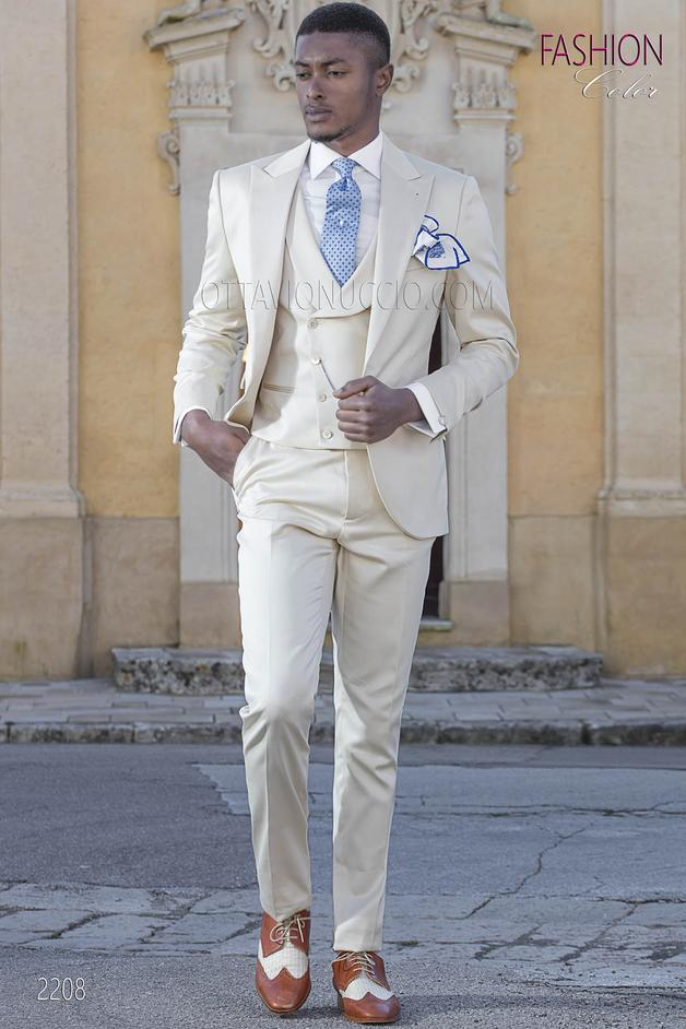 ONGala 2208 - Italian beach morning suit for groom in beige cotton