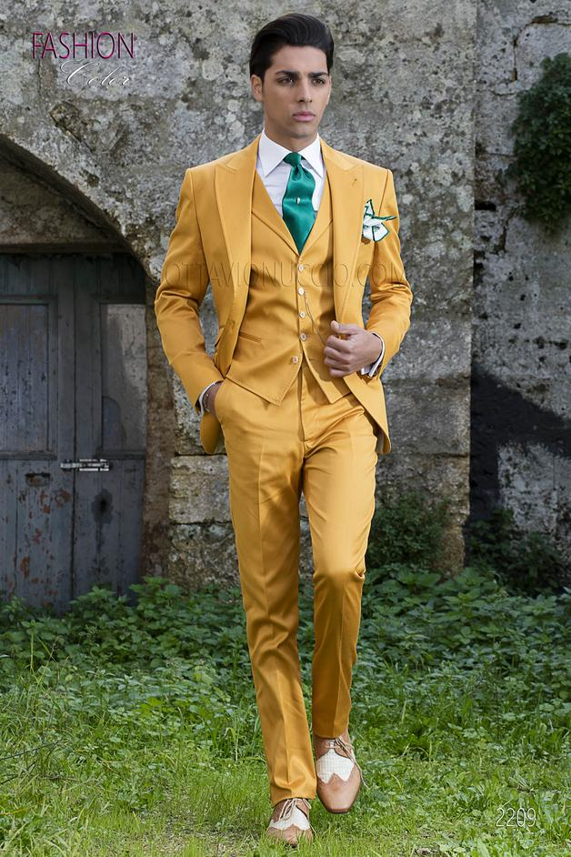 ONGala 2209 - Italian spring hipster men suit in yellow cotton for groom