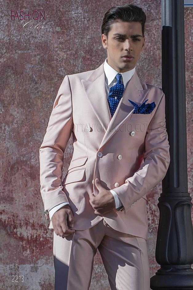 ONGala 2213 - Peak lapel double breasted groom suit in light pink wool blend