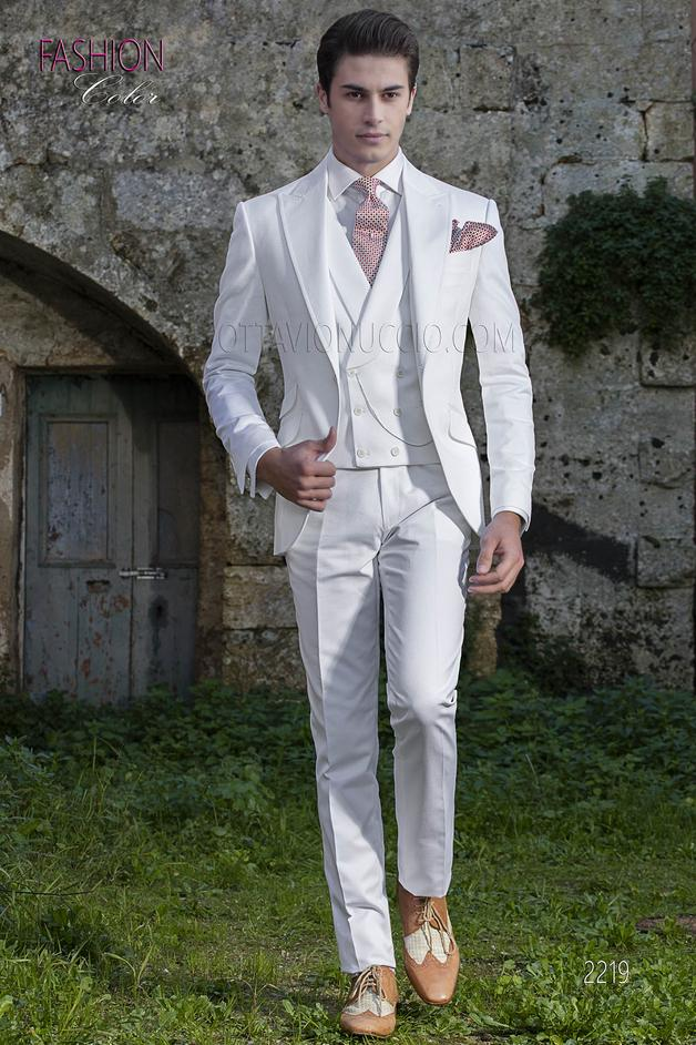 ONGala 2219 - White summer men italian wedding suit in piquet cotton fabric