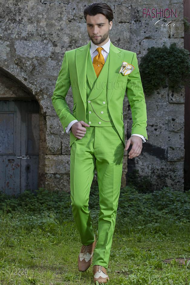 ONGala 2220 - Italian morning Suit in green double twisted cotton fabric