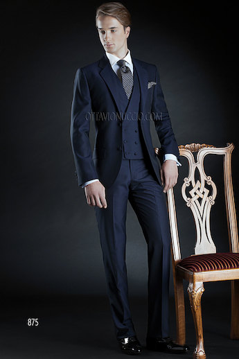 ONGala 875 - Midnight blue notch lapel groom suit
