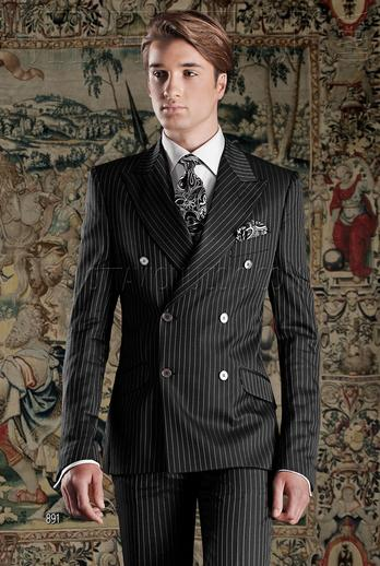 ONGala 891 - Black pinstriped peak lapel double breasted suit