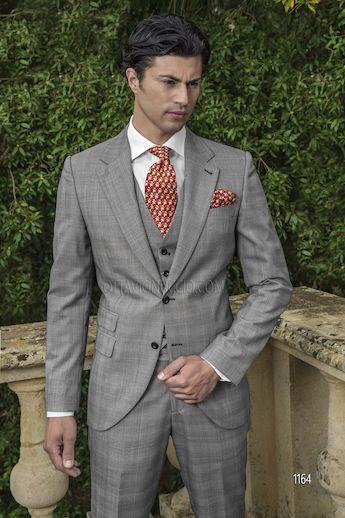 ONGala 1164 - Traje de novio mixto lana príncipe de Gales gris