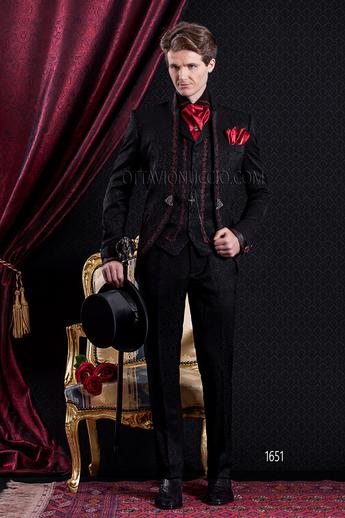 ongala 1651 costume mariage gothique col mao noir damass avec broderies rouge - Costume Col Mao Mariage