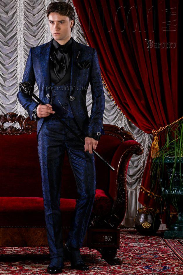 Gothic Hochzeitsanzug blau aus Jacquard-Stoff
