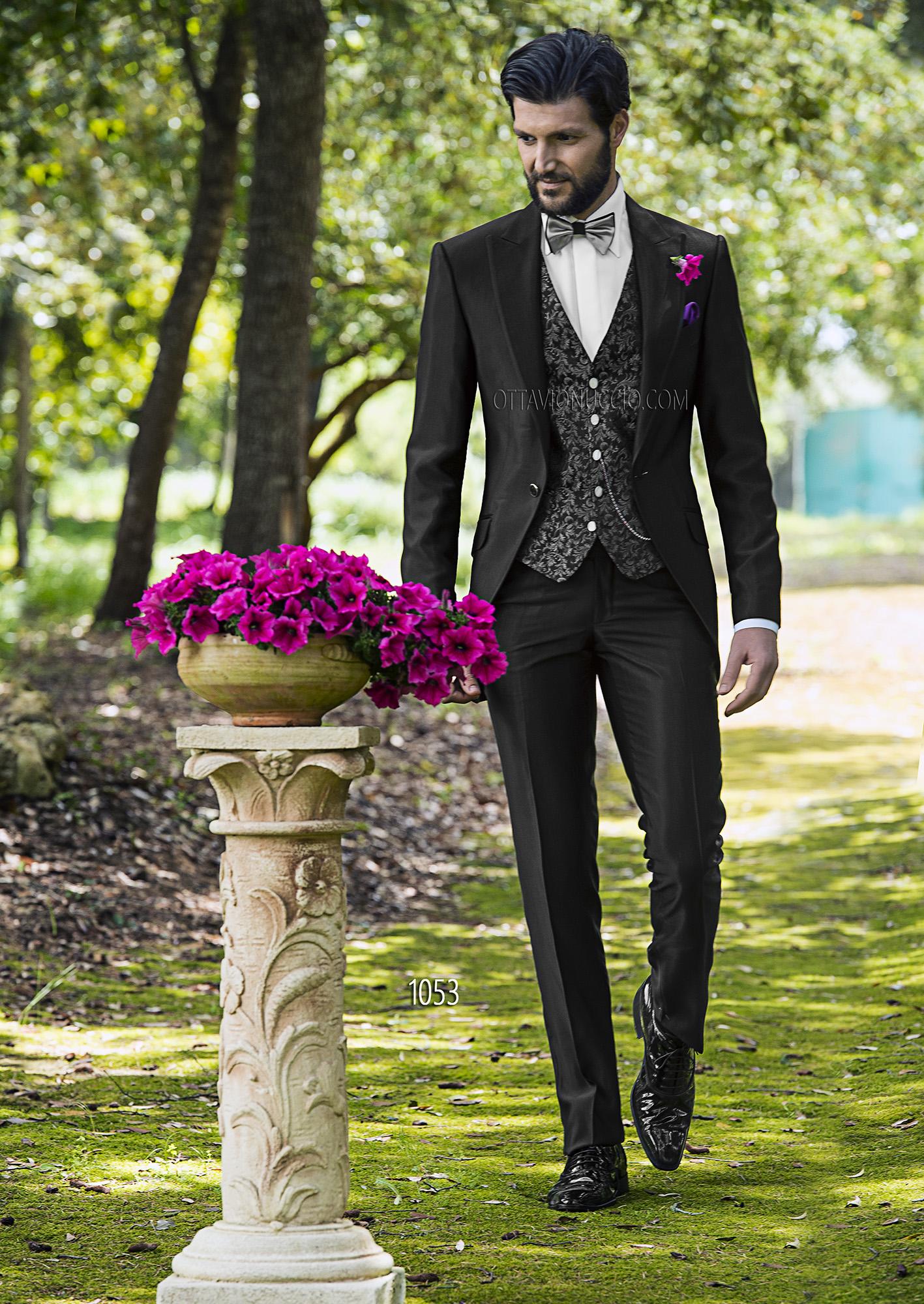 Italienische hochzeitsanzug aus ottoman stoffen schwarz for Hochzeitsanzug fliege