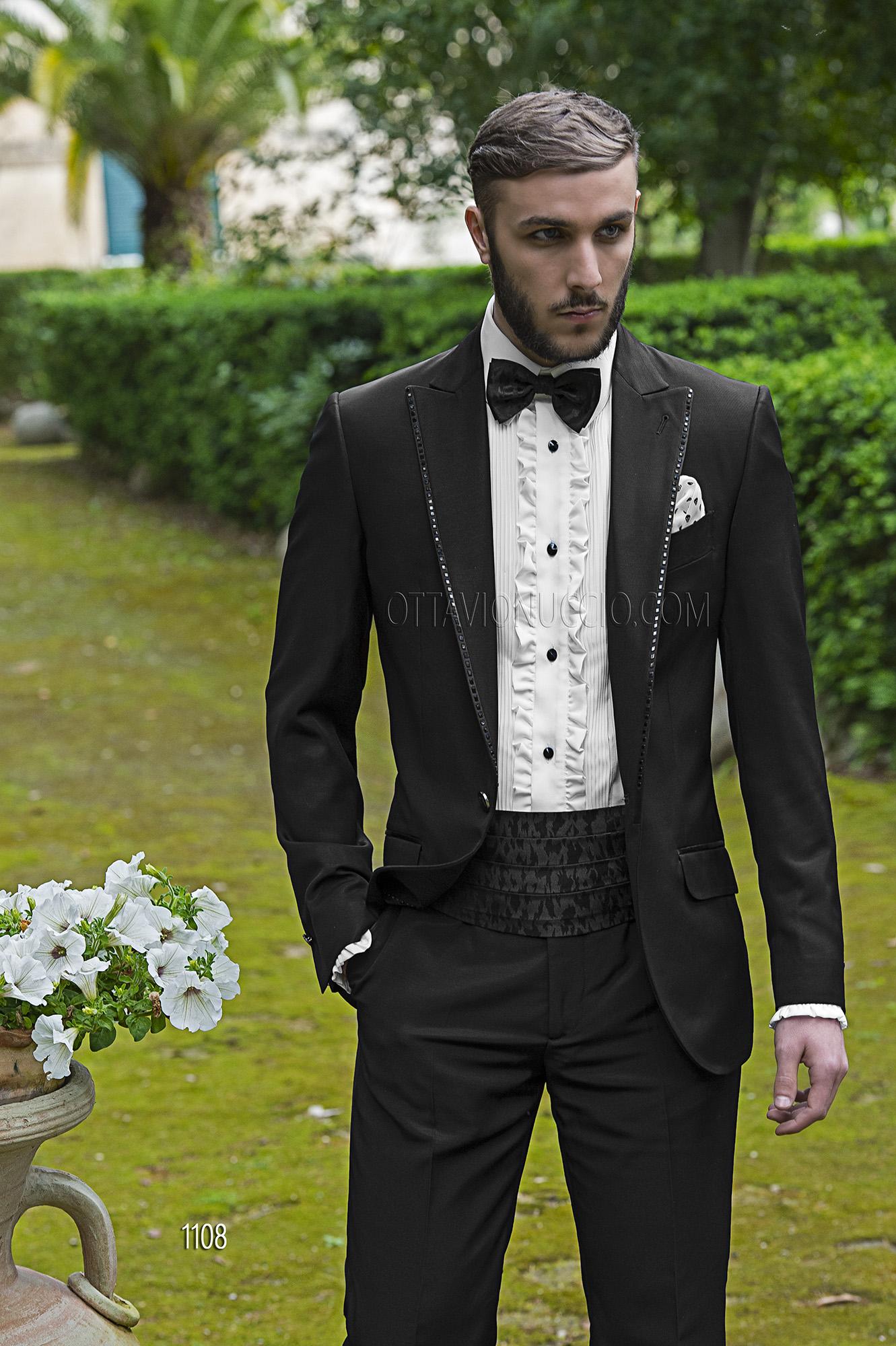 Schwarze hochzeitsanzug aus acetat wolle for Hochzeitsanzug fliege