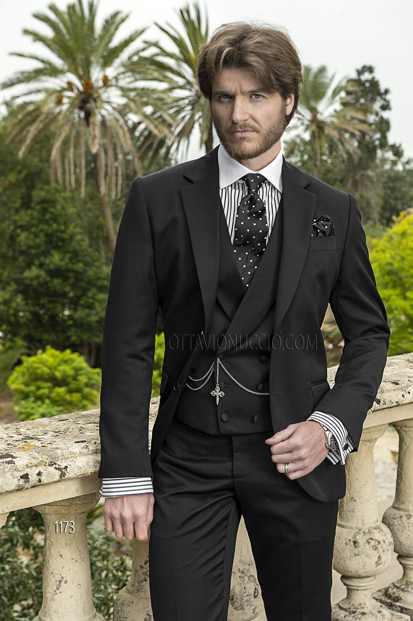 ONGala 1173 - Trajes para novio con chaleco negro italiano pura lana virgen