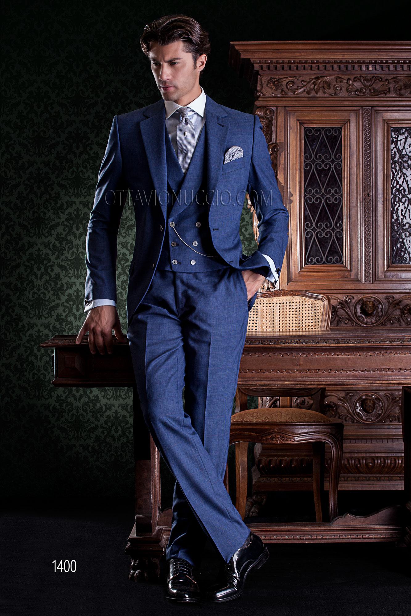 Vestito Matrimonio Uomo Blu Elettrico : Abito sposo classico blu elettrico con gilet doppiopetto