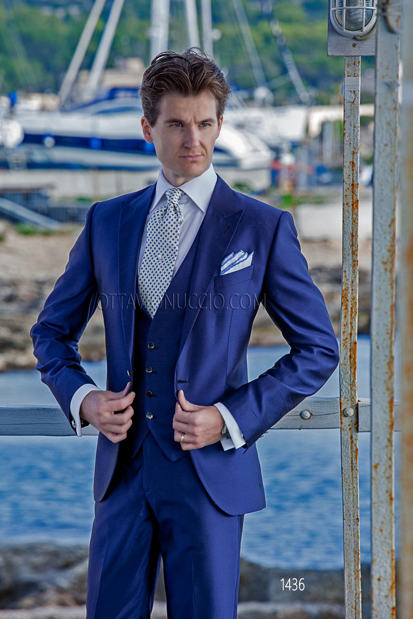 Costume homme bleu lectrique en shantung avec gilet assorti - Costume bleu electrique ...