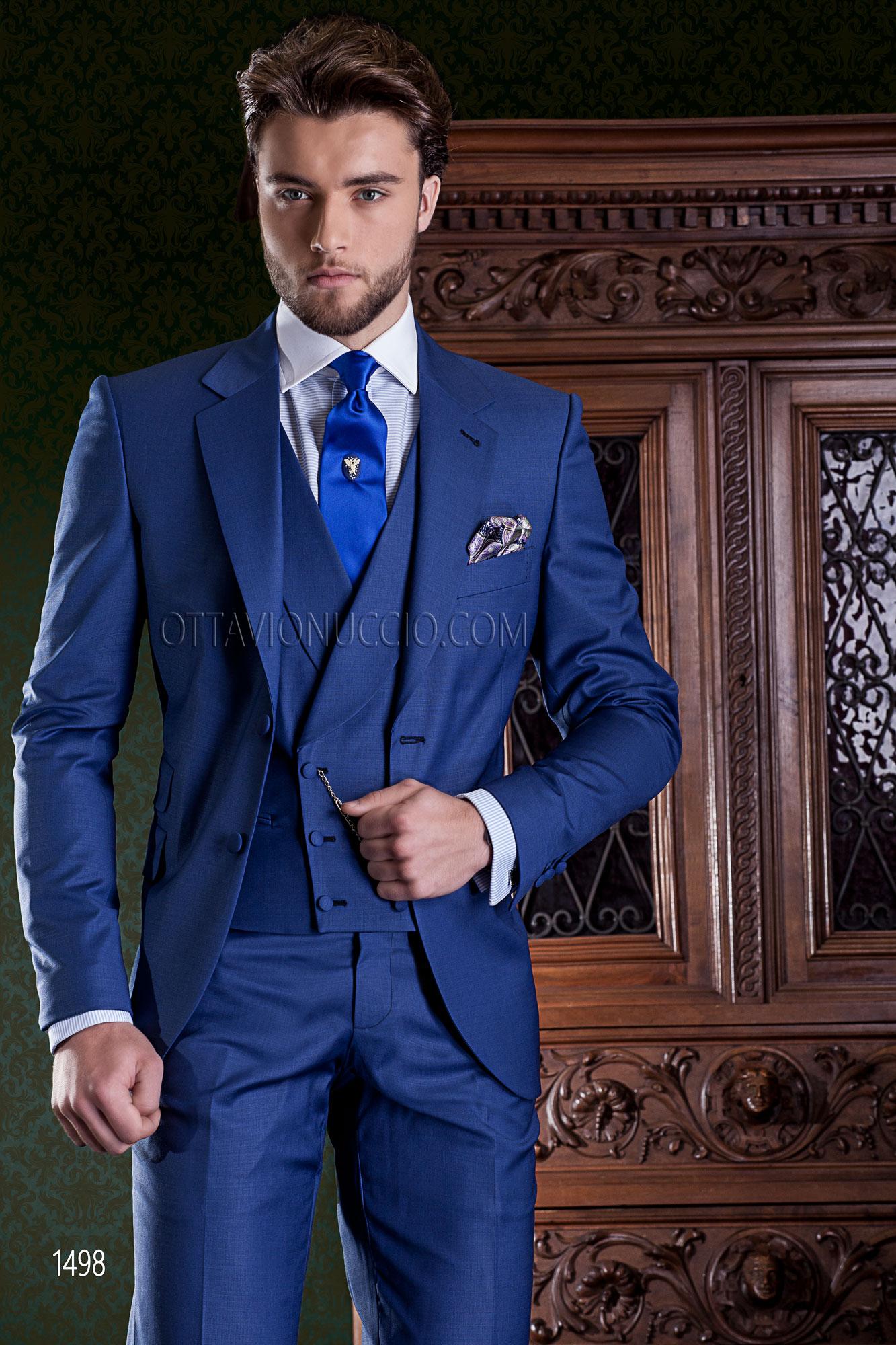 Vestito Matrimonio Uomo Blu Elettrico : Abito da cerimonia uomo blu elettrico e gilet doppiopetto