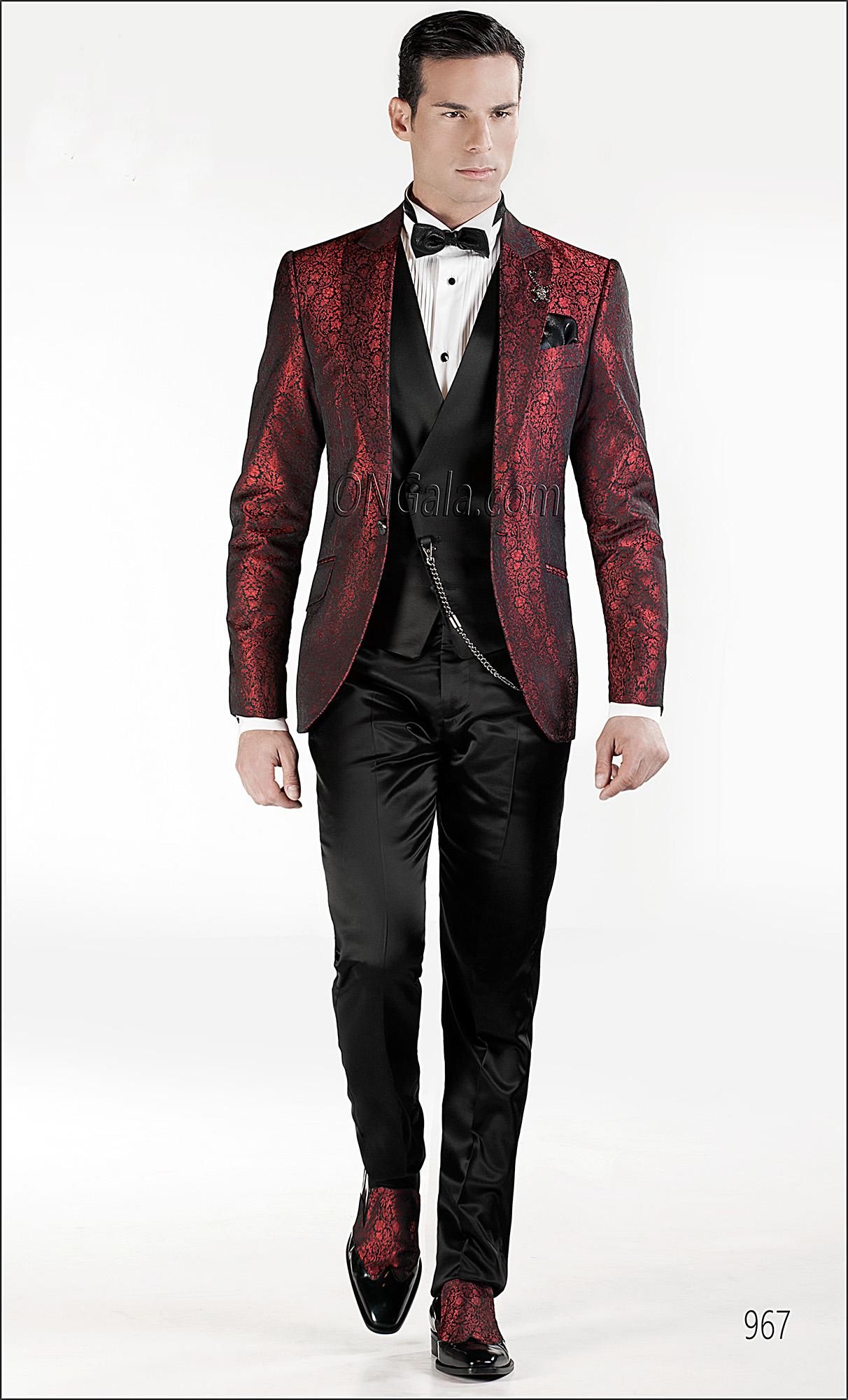 Abito Matrimonio Uomo Rosso : Abito da sposo uomo con giacca jacquard nero rosso