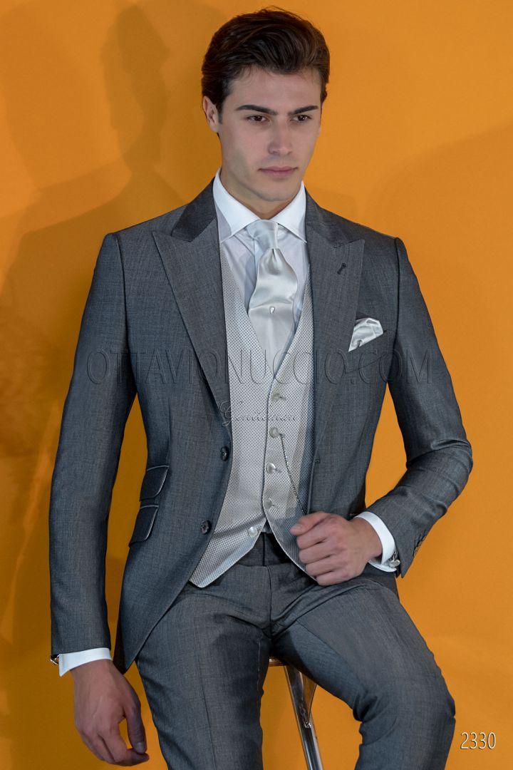 Traje de novio italiano gris antracita lana mohair alpaca