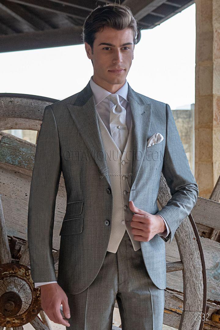 Traje clasico de novio gris lana mohair alpaca
