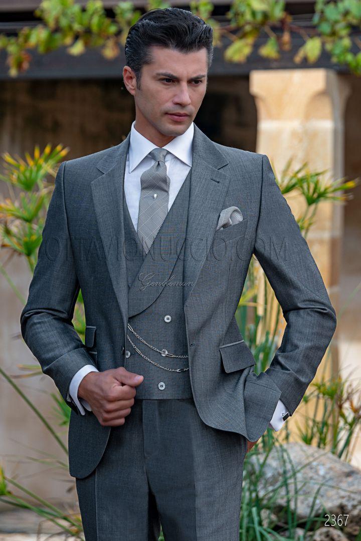 Traje italiano boda novio gris antracita lana mohair alpaca