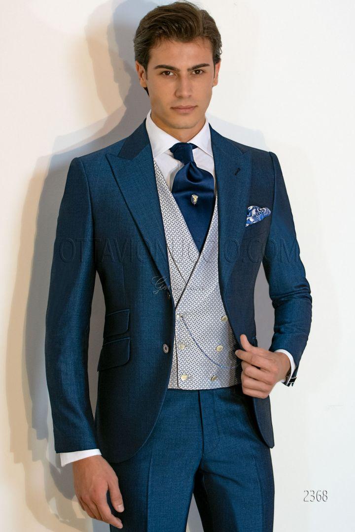 Abito sposo uomo sartoriale blu royal misto lana