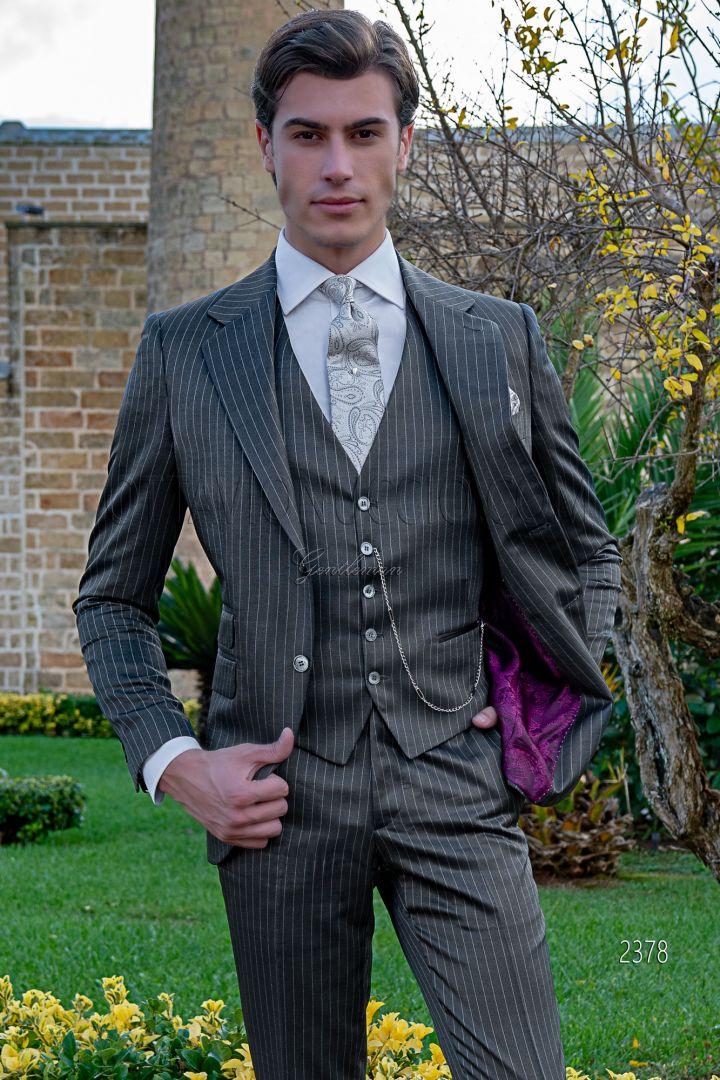 Traje italiano boda hombre a medida raya diplomática gris