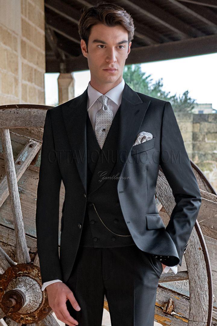 Traje de novio negro italiano moderno en pura lana