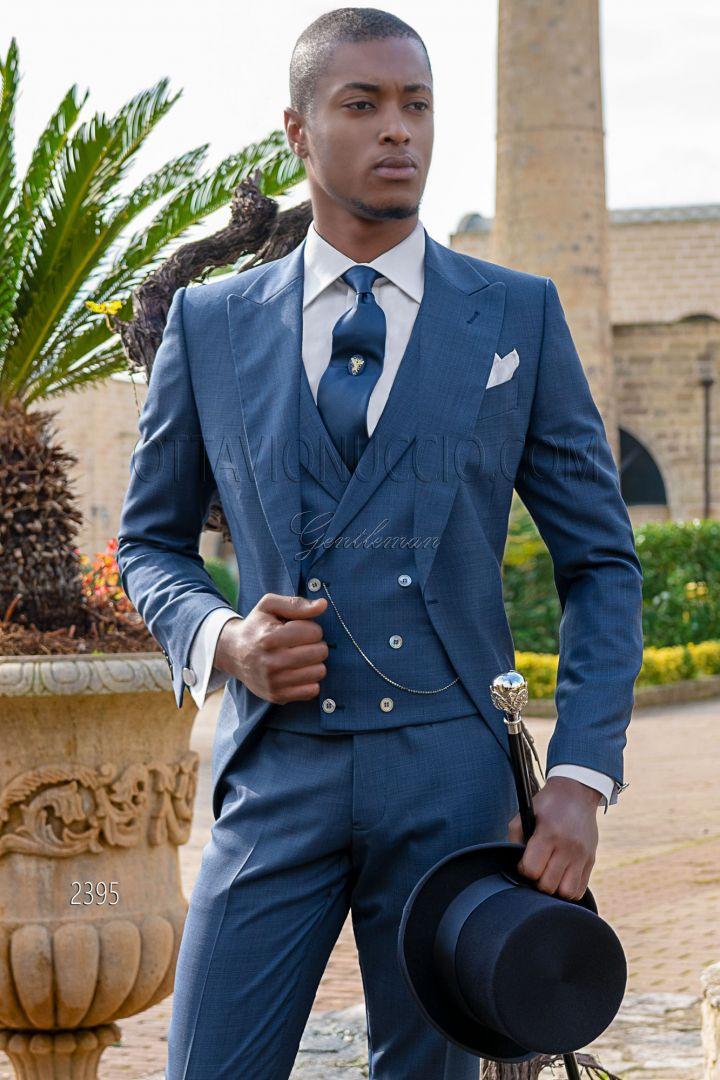 Vestito tight moda da cerimonia principe di galles blu