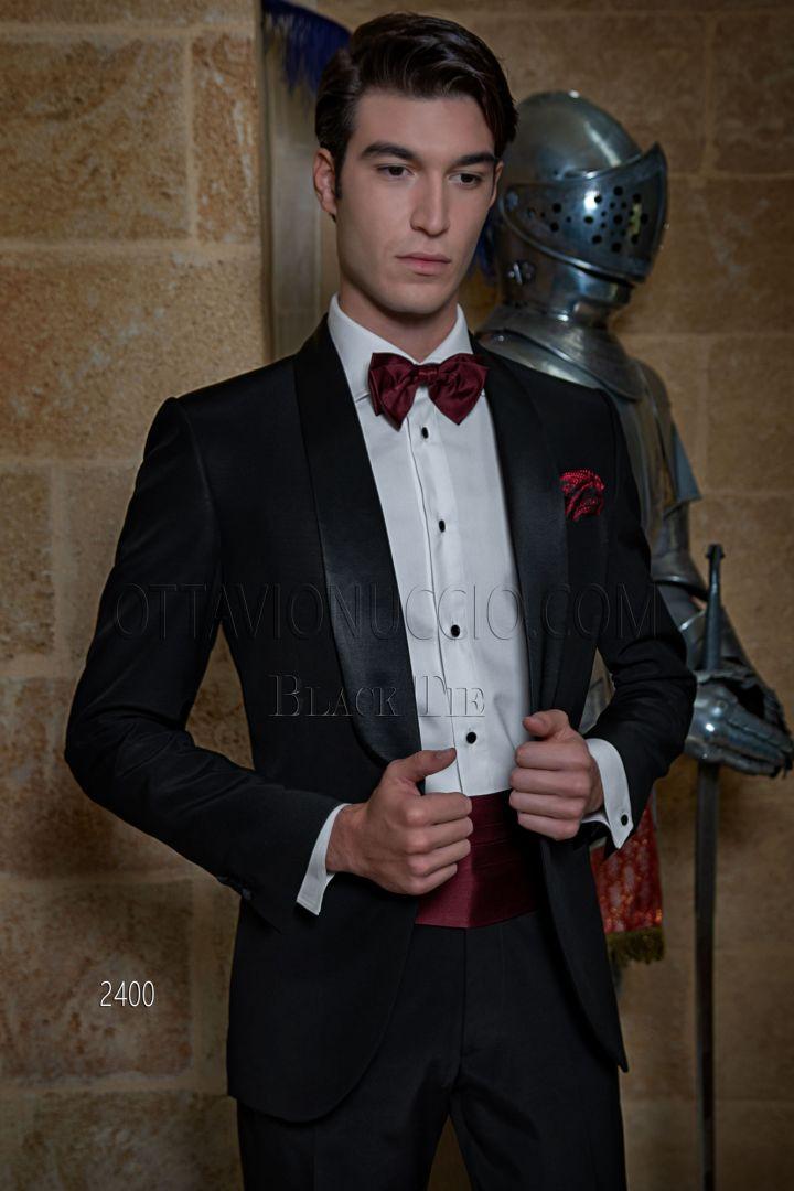Vestito uomo da red carpet nero smoking sciallato