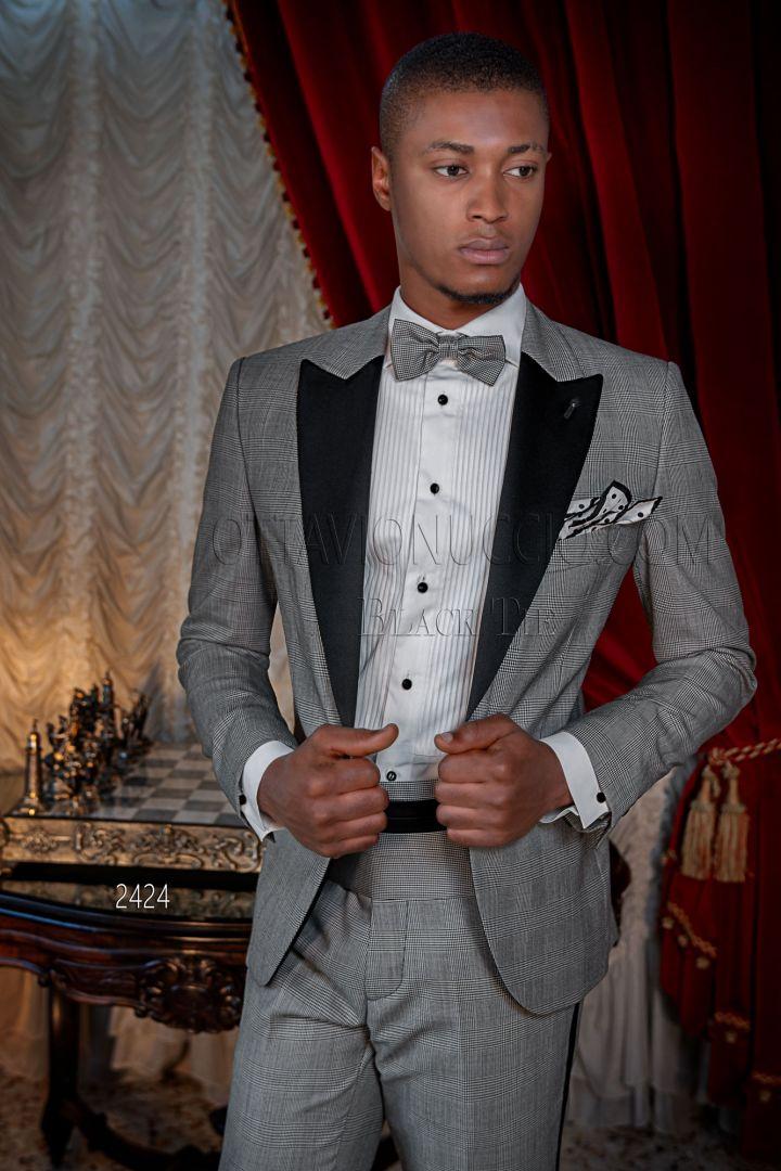 Smoking abito elegante uomo in principe di galles grigio