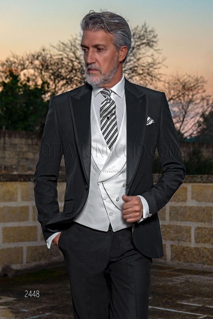 Abito moda da sposo nero misto lana, gilet doppiopetto bianco
