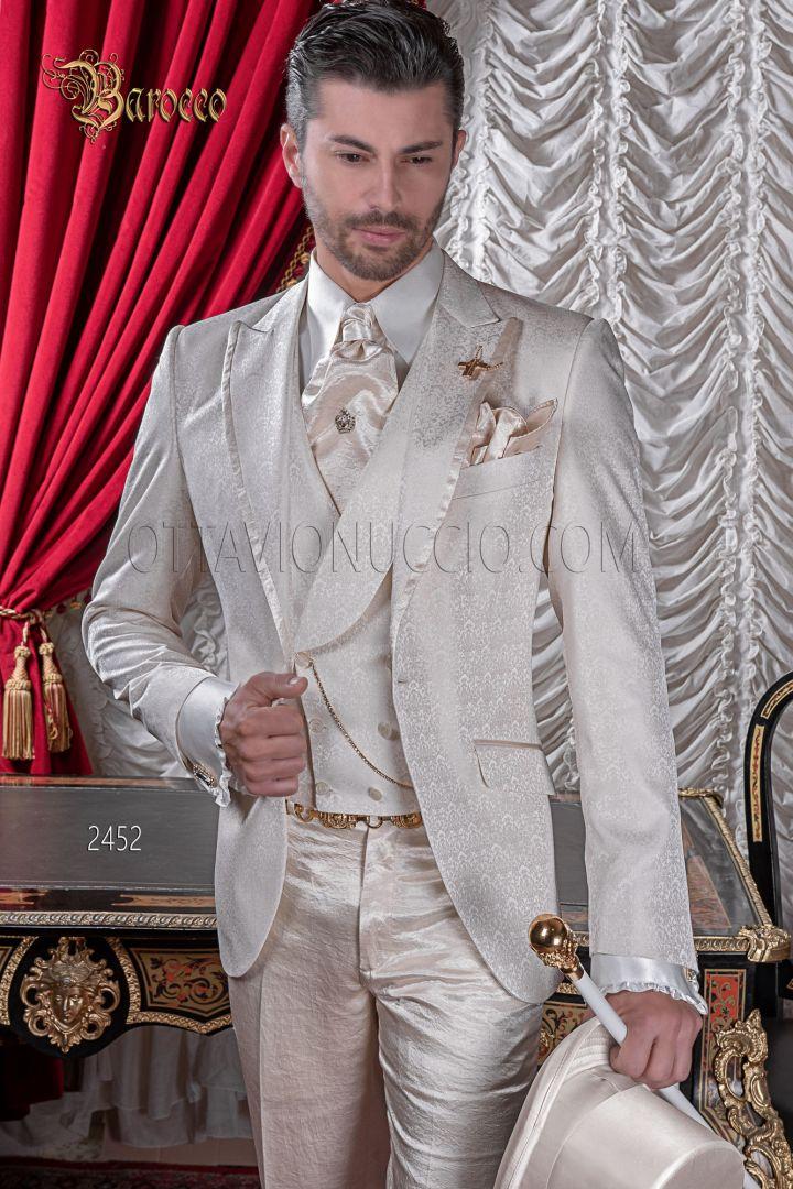 Vestito sposo damascato beige in misto seta stile barocco