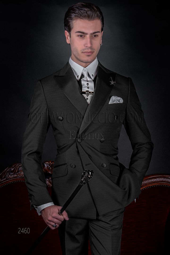 Modern double-breasted suit in black jacquard, black satin lapels