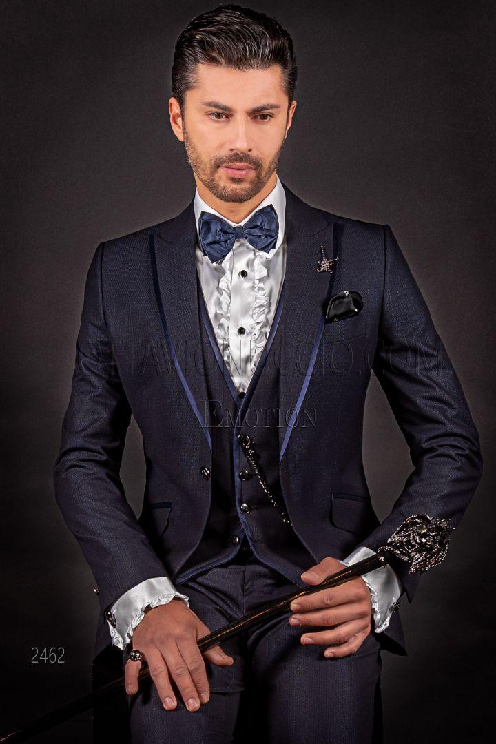 Italian blue modern groom suit, blue satin piping on lapel
