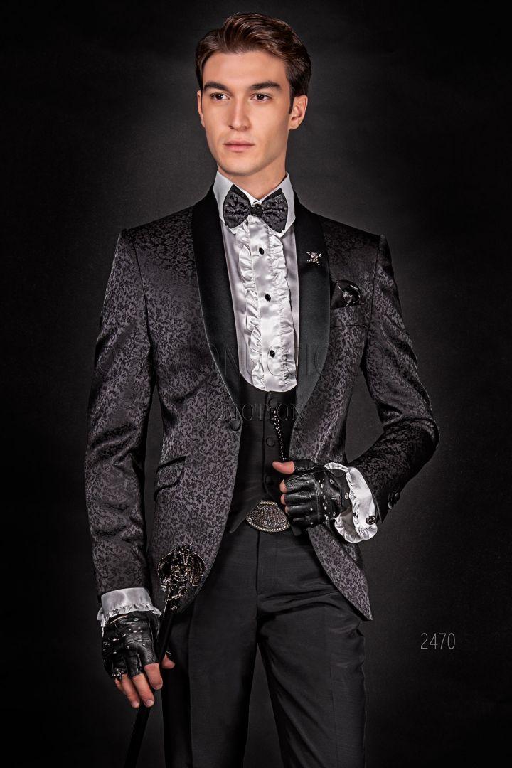 Custom made italian men's fashion jacket in damask black