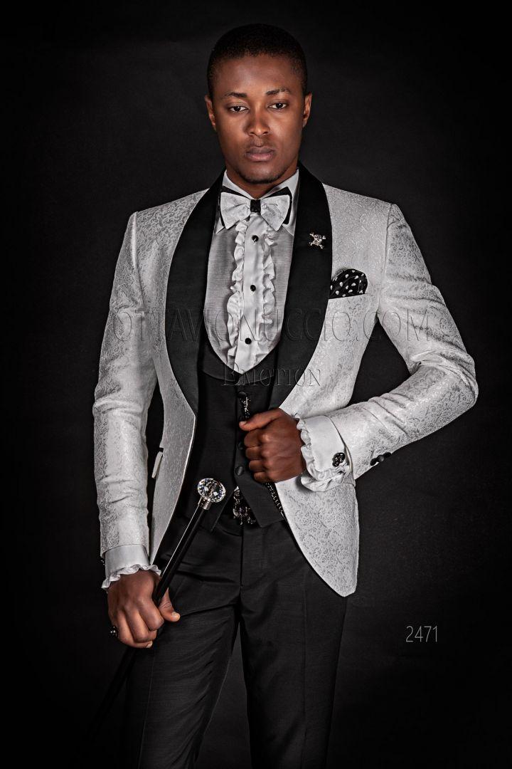 White shawl modern tuxedo man groom suit with black pants