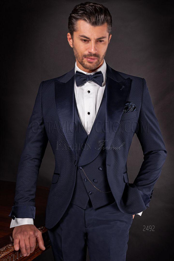 Abito moda sposo da uomo blu con inserti in raso