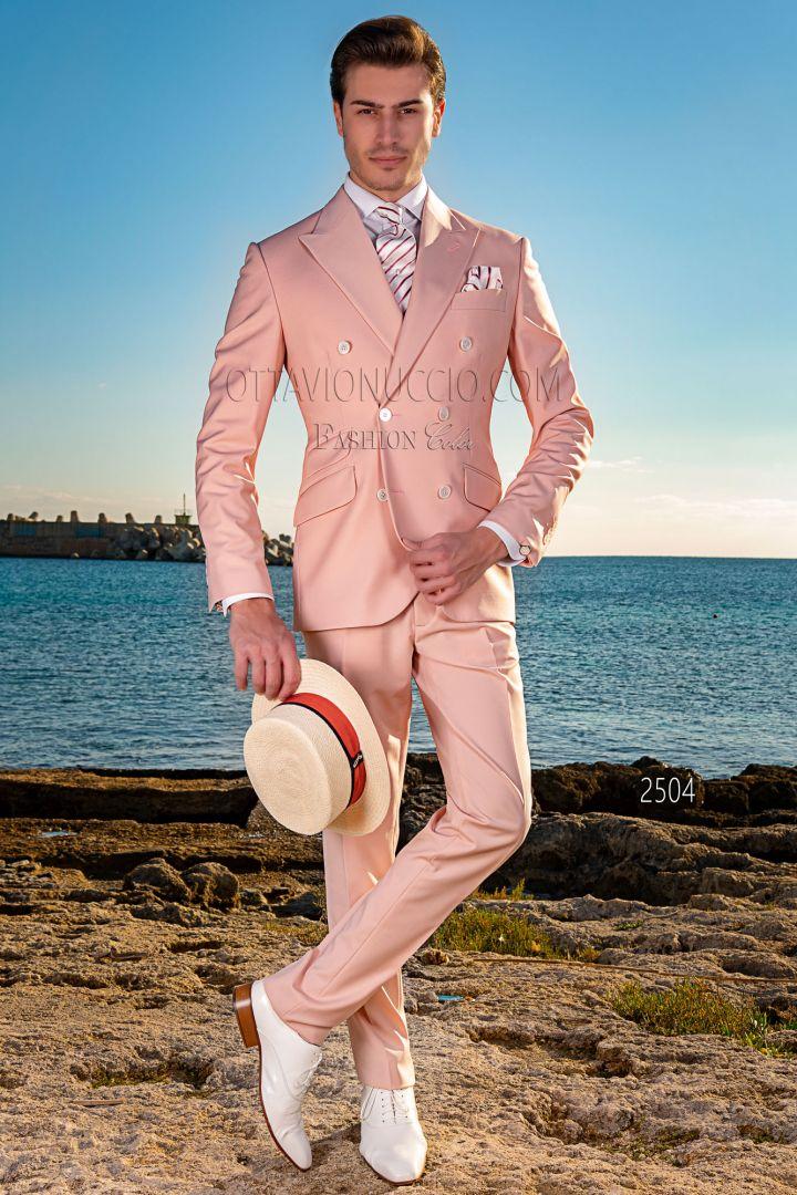 Vintage zweireihig rosa Herren Anzug