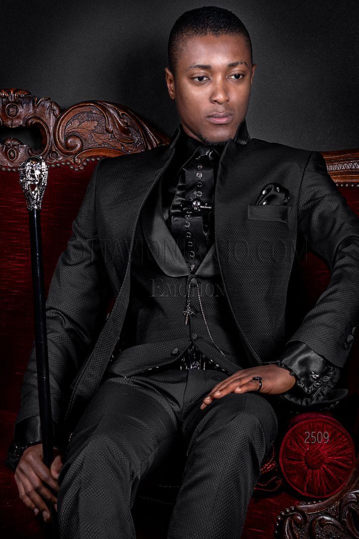 Black mao luxury italian groom suit in jacquard wool blend