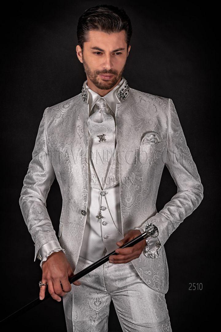 Luxury white damask italian groom dress with Korean style collar