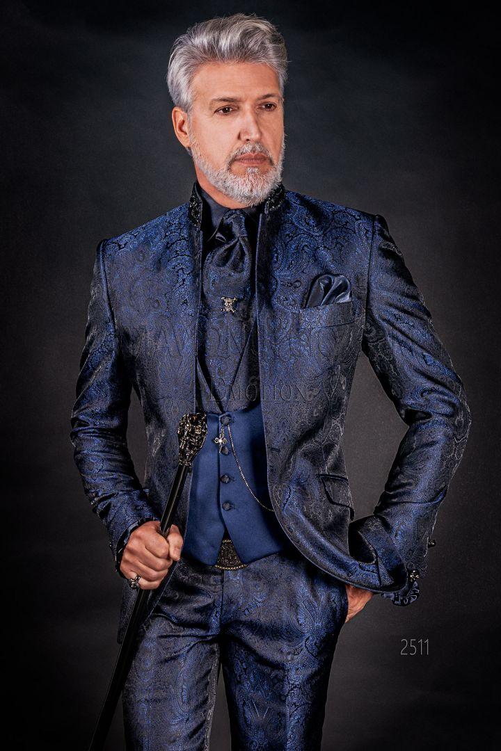 Luxury blue damask italian groom suit with Korean style collar