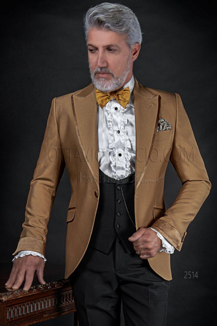 Vestito moda fashion uomo oro, pantalone e gilet nero