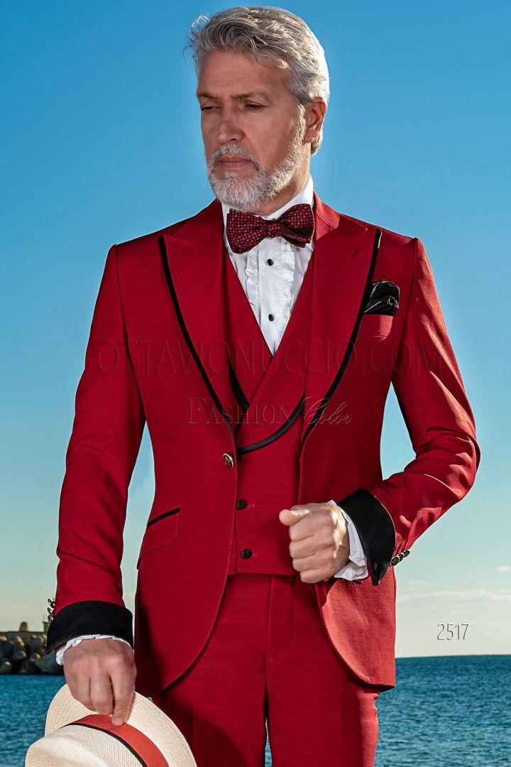 Abito uomo fashion moderno misto lana rosso con profili neri