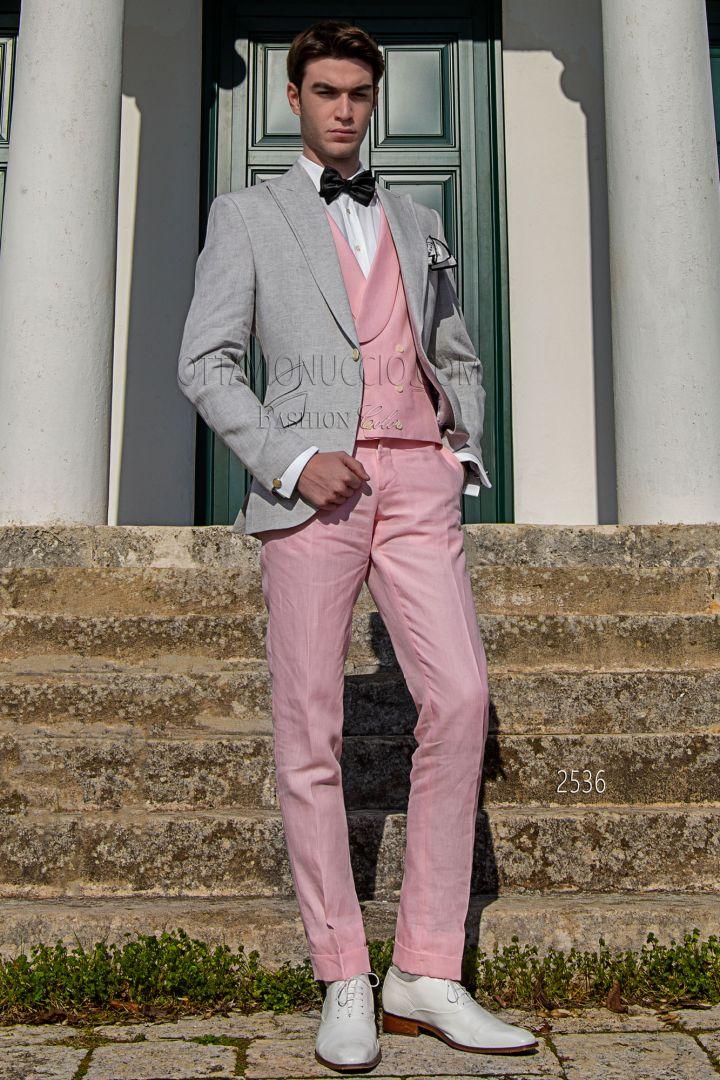 Blazer gris perla en puro lino con chaleco y pantalón de lino rosa