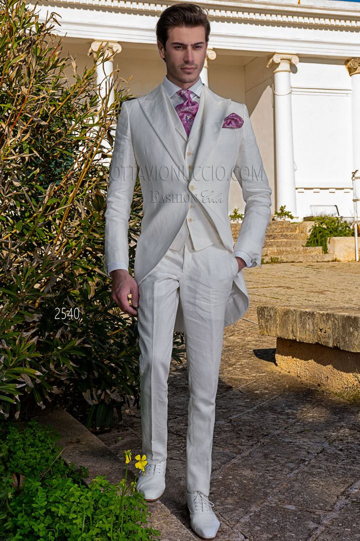 Chaqué de novio blanco natural de lino puro