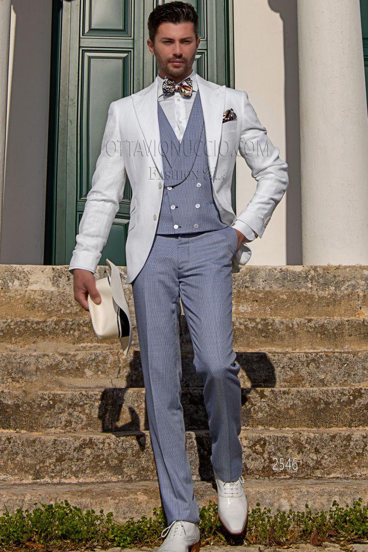 Chaqueta blanca de lino puro con chaleco y pantalón azul Pata de Gallo