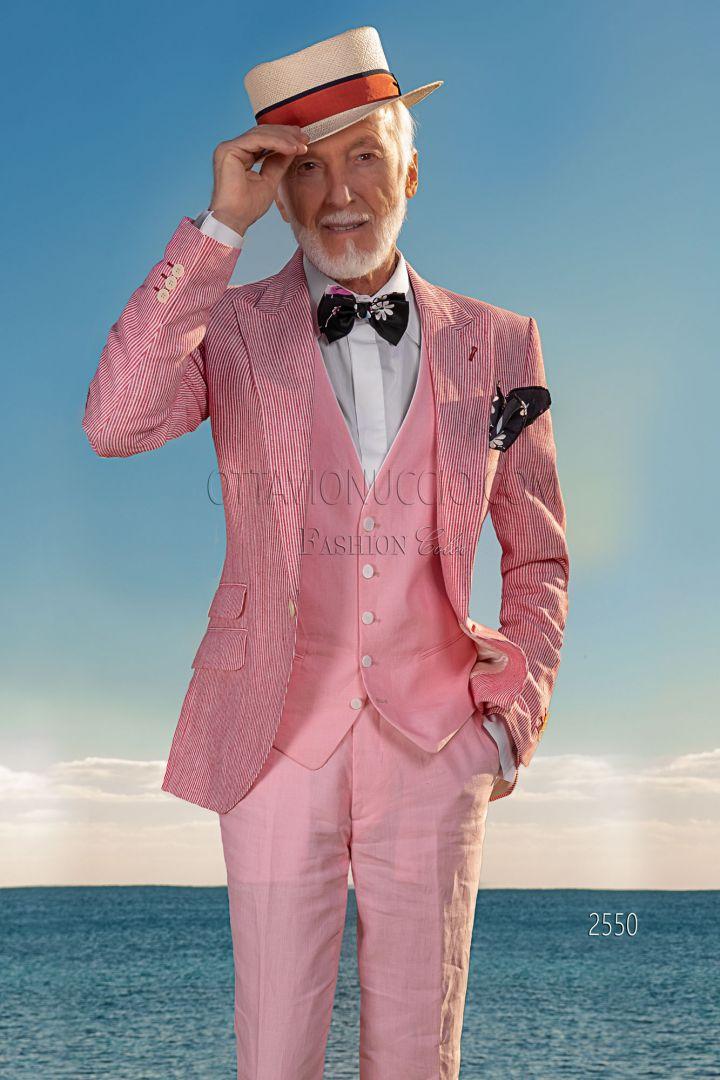 Chaqueta vintage moda masculina lino rojo blanco, chaleco y pantalón lino rosa