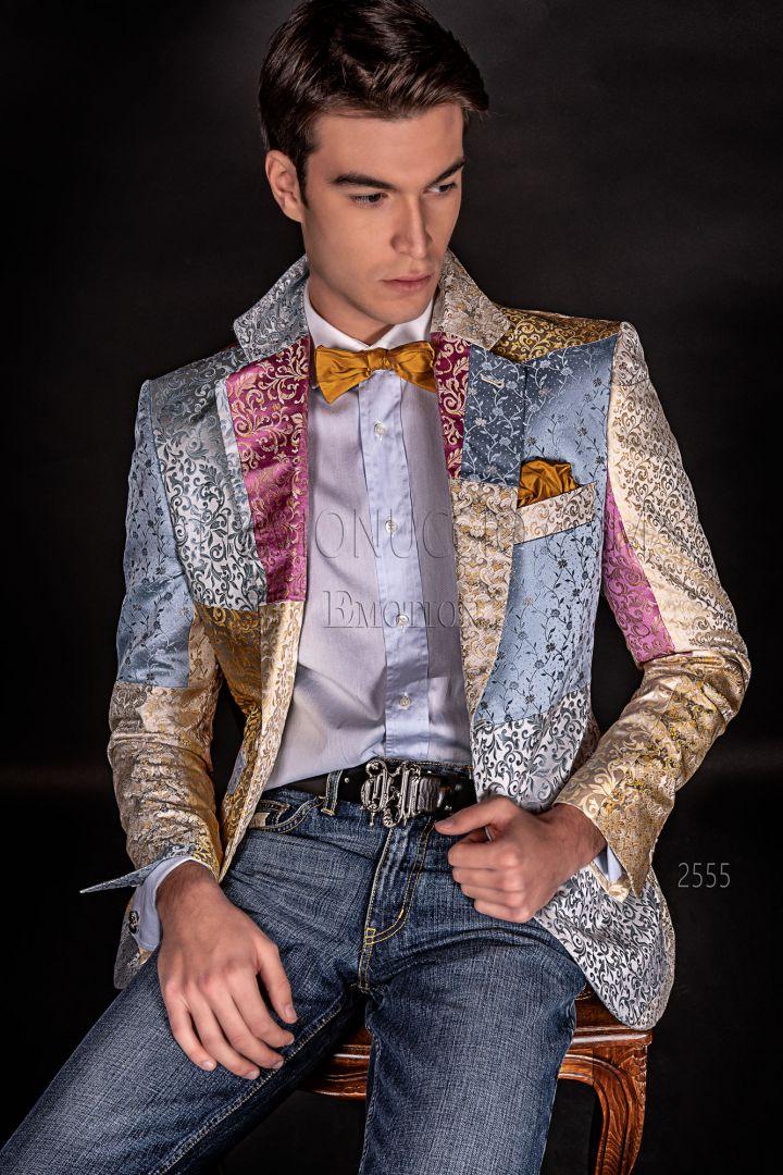Italian luxury men Blazer in pastel shades silk Patchwork