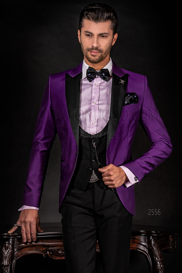 Modern purple and black men's tuxedo suit, black trousers and gilet