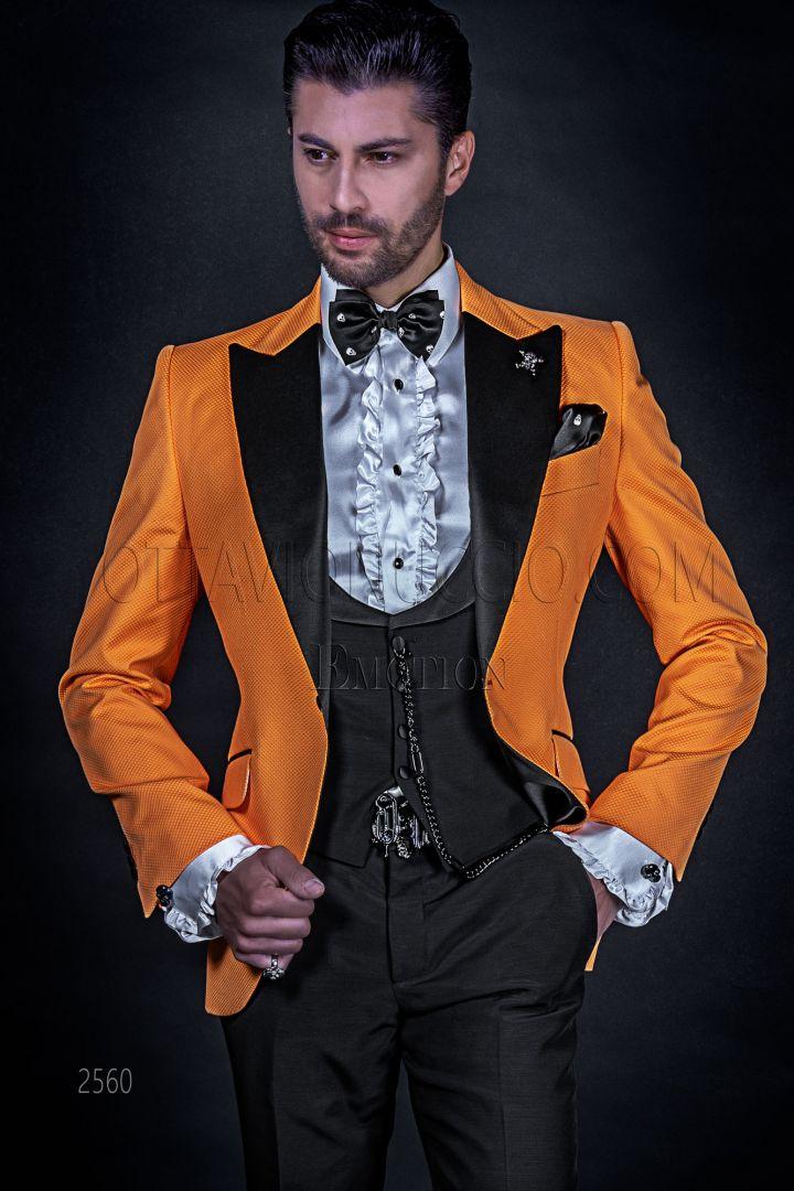 High fashion orange italian blazer tuxedo for men in cotton