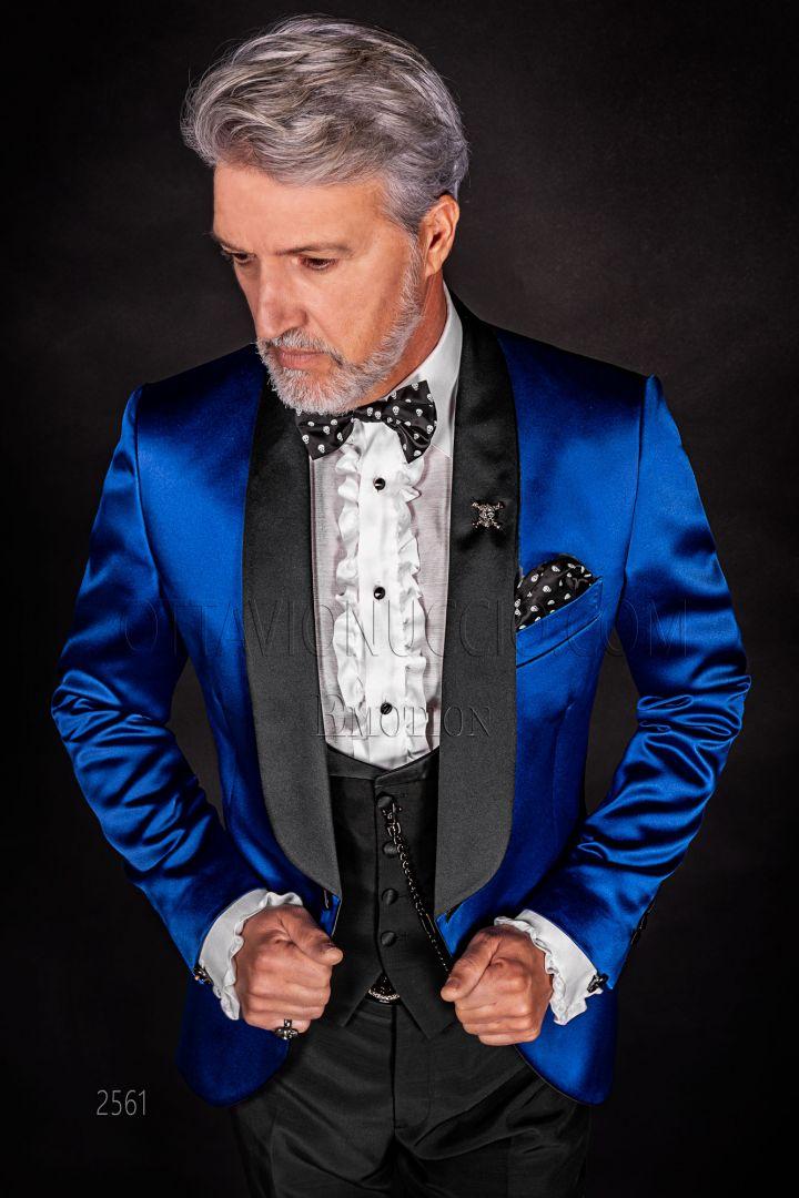 Luxury electric blue satin italian tuxedo with black trousers