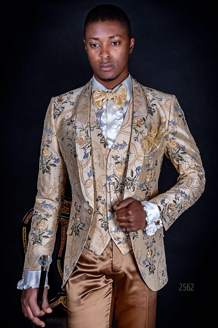 Italian luxury wedding man dress in embroidered beige shantung silk
