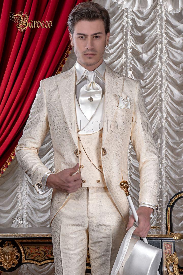 Abito da sposo uomo damascato avorio matrimonio stile barocco